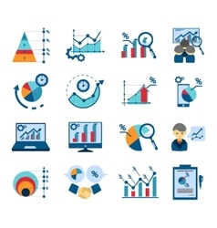 Data analysis flat icons collection vector