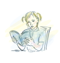 Girl reading vector