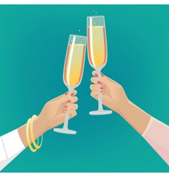 Girlfriends clink glasses of champagne vector