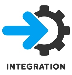 Integration flat icon with caption vector