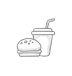Fast food meal sketch icon vector