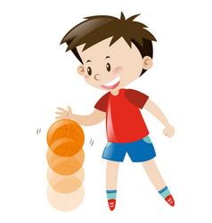 Boy in red shirt bouncing basketball vector