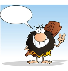 Caveman Gesturing The Peace Sign vector image vector image