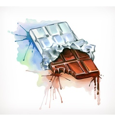 Chocolate watercolor painting isolated on a white vector image vector image