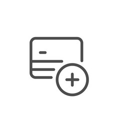 credit card add line icon vector image vector image