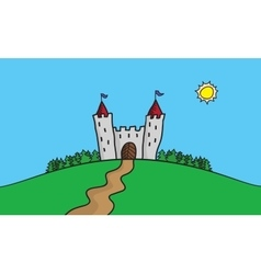 draw of scene with castle on vector image vector image