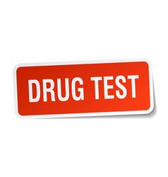 Drug test square sticker on white vector