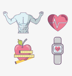 flat line set icon fitness vector image