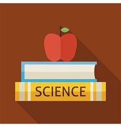 Flat Science Books with Apple and Knowledge with vector image vector image