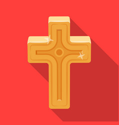 golden cross easter single icon in flat style vector image