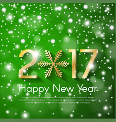 Golden new year 2017 concept on green snow blurry vector
