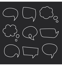 Hand drawn speech bubbles chalk on blackboard vector