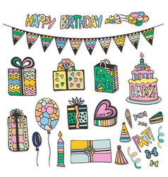 happy birthday hand drawn decorations doodle set vector image