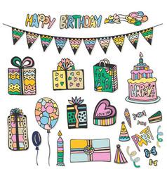 happy birthday hand drawn decorations doodle set vector image vector image