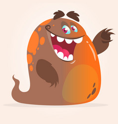 Happy cartoon orange blob monster vector
