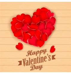 Happy Valentines Day with rose petal heart vector image vector image