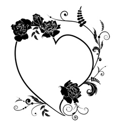 heart and rose frame vector image vector image