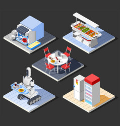 Modern fastfood cafe composition vector