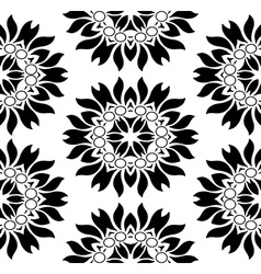 Monochromatic seamless floral pattern vector image vector image