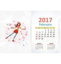 nice young woman skating fun Calendar for 2017 vector image