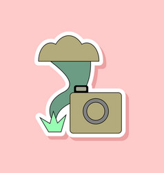 paper sticker on stylish background tornado camera vector image
