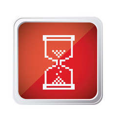 red emblem mouse hourglass cursor icon vector image