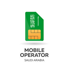Saudi arabia mobile operator sim card with flag vector