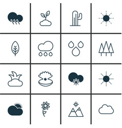 Set of 16 ecology icons includes raindrop vector