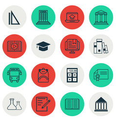 Set of 16 education icons includes library paper vector