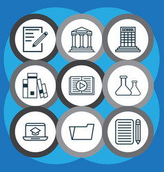 Set of 9 school icons includes library document vector