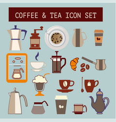 Set of flat tea and coffee icons vector