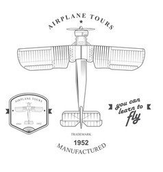 set of vintage airplane labels badges and design vector image