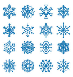 snowflake set snow icons winter holiday sign vector image