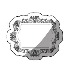 sticker monochrome oval rectangle heraldic baroque vector image