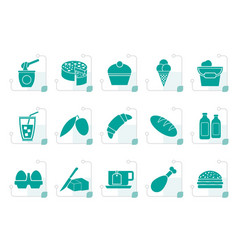 stylized dairy products - food and drink icons vector image