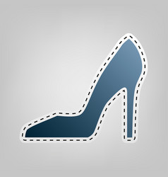Woman shoe sign blue icon with outline vector