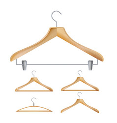 Wooden clothes hangers of vector