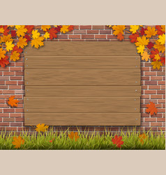 wooden sign on brick wall autumn maple branches vector image vector image