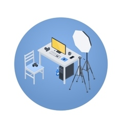 Isometric photographer workplace vector