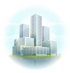 Modern cityscape business city skyscrapers vector
