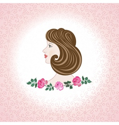 profile feminine face with roses vector image