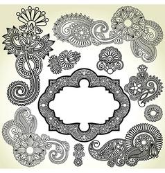 black flower and frame element vector image