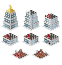 Bank building isometric set vector image