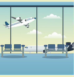 Waiting room airport plane vector