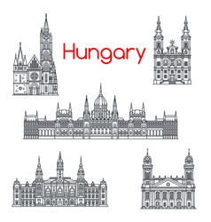 Architecture of hungary buildings icons vector