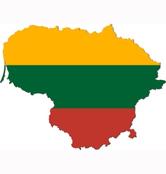 Map of lithuania with national flag vector