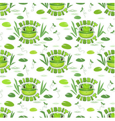 Seamless pattern with funny frog faces vector