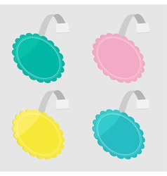 Bbler set in shape of round flower empty template vector