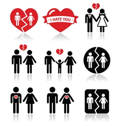 Couple breakup divorce icons set vector