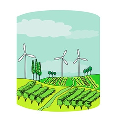Wind power on a green meadow vector
